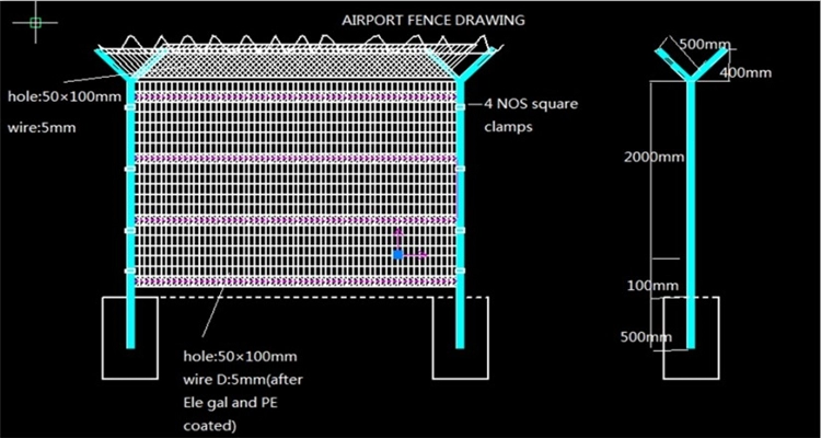 airport fence drawing
