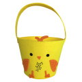 Easter yellow chick felt tote basket
