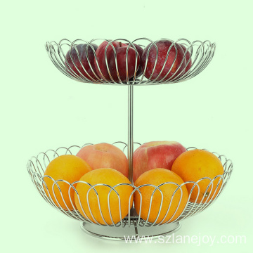 Cozy home two layer fruit basket iron wire tier  stainless steel fruit basket