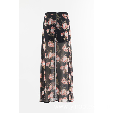 Chiffon print wide trousers