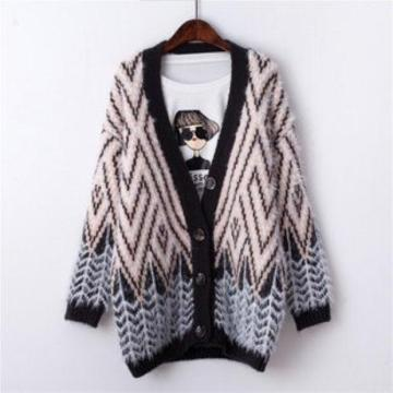 OEM Autumn Winter Women Fashion Knitted Long Coat