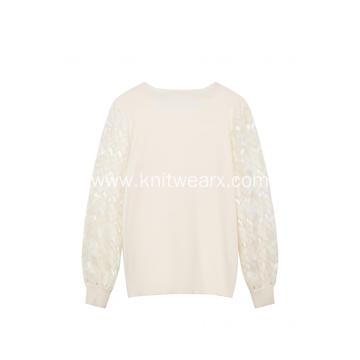 Women's Knitted Sequin Lacework Crew-Neck Pullover