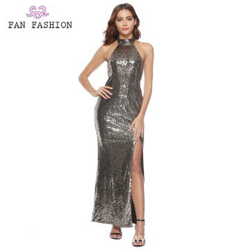Dark Grey Full Shining Sequin Ball Gown