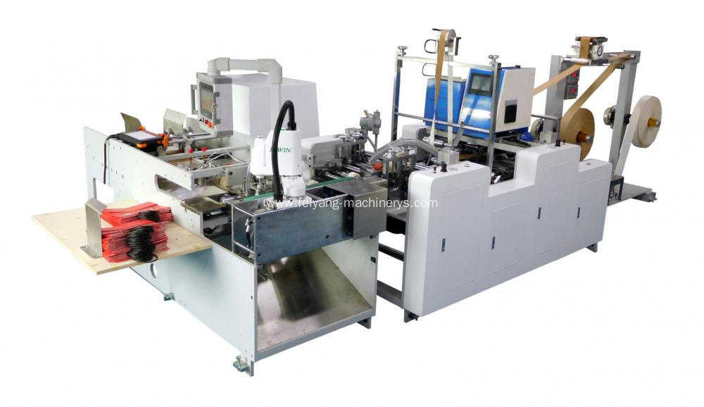 Twisted paper handle pasting machine