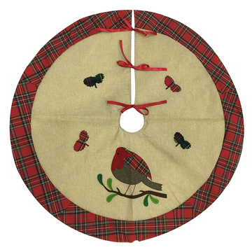 Hessian christmas tree skirt and red plaid border