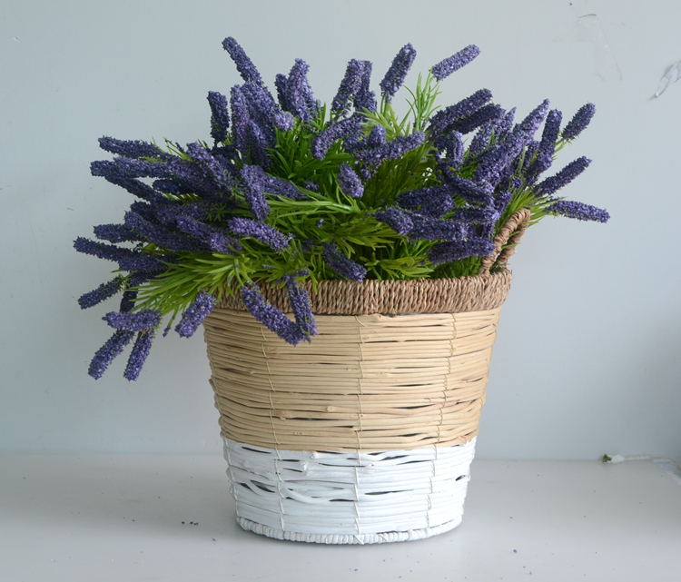 Round two tone rattan flower basket with handle-3