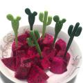 6pcs/pack Plastic Fruit Forks Green Cactus & Black Cat Toothpick Kids Tableware Fruit Fork Food Picks