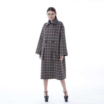 Brown checked lapel cashmere coat