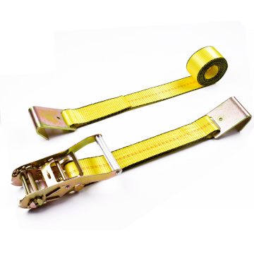 "2"" 5 Ton 50mm Aluminum Middle Handle Ratchet Buckle Tie Down Yellow Straps With 2 Inch Flat Hooks"