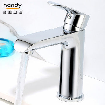 Beautiful smooth cylindrical washbasin hot and cold faucet