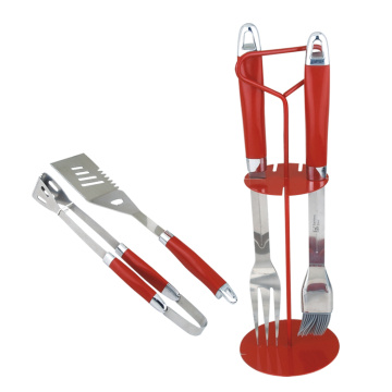 4pcs red bbq tools set in wire rack