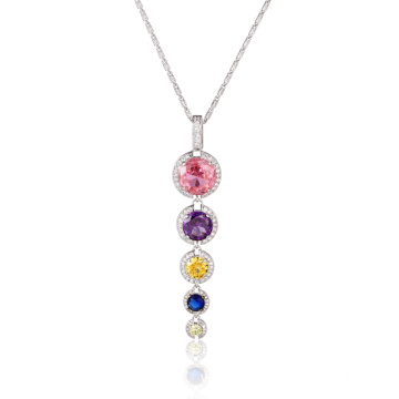 Fashion Long Drop Colorful CZ Pendant Necklace