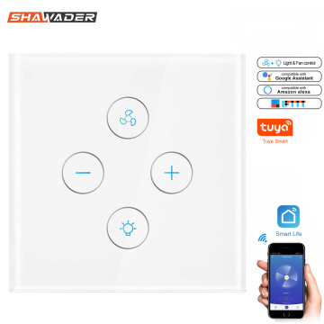 WiFi Smart Wall Light Switches Fan Switch Lamp Controller Touch Panel Wireless Tuya App Remote Control By Alexa Google Home