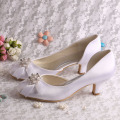 Wedopus Low Heel Wedding Prom Shoes Closed Toe