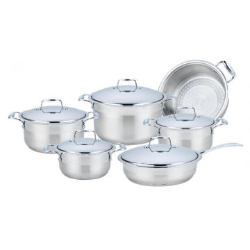 11 Pieces Stainless Steel Wide Edge Cookware Set