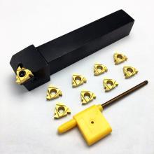 Outside diameter thread tool holder SER2020K16 CNC lathe tool holder, + 10PCS MMT 16ER AG60 hard alloy blade turning tool set