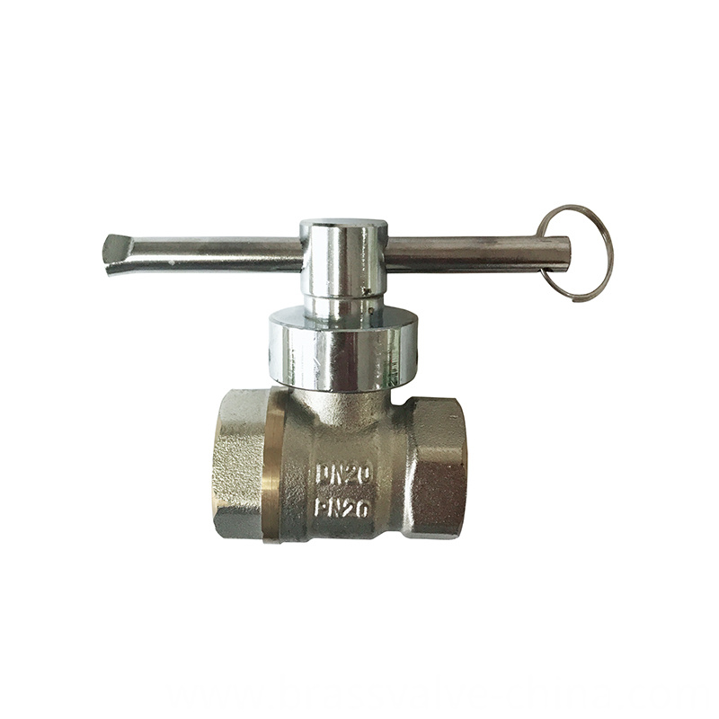 Brass Lockable Magnetic Ball Valve With Nickel Surface