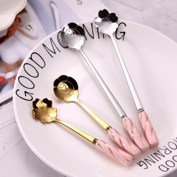 Wedding Stainless Steel  Ceramic Handle Spoon