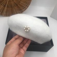 Winter Hats for Women Casual Beret Luxury Pearl Wool Fashion Gorros Boinas Para Mujer Bonnet Barette Cap Autumn Adjustable
