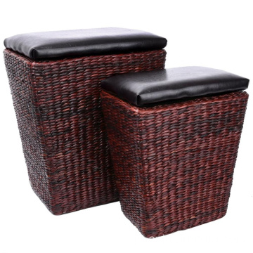 Otomano do Rattan com o ottoman do banco do armazenamento do assento do otomano do couro do Furniture do armazenamento Otomano com o Bandeja 2-Piece pequeno, Brown