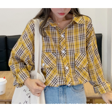 Yellow Long-sleeved round neck western style blouse