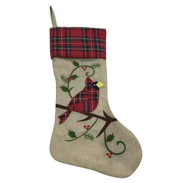 Christmas stocking with brid  Embroidered