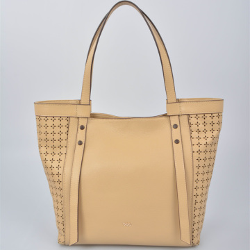Women leather Tote Bag with front stars holes