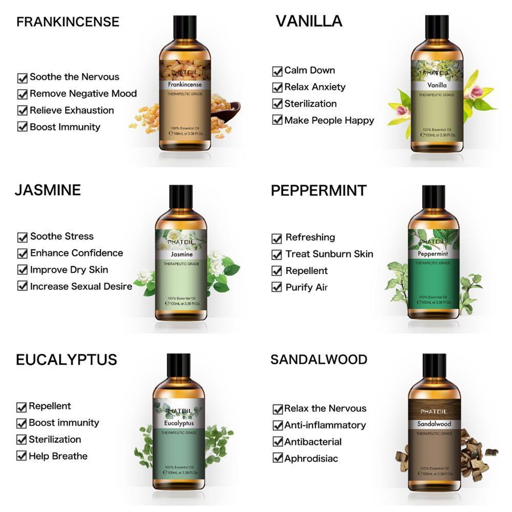 100ml Eucalyptus Essential Oil Diffuser Pure Natural Essential Oils Rose Lavender Jasmine Vanilla Mint Shea Butter Tea Tree Oil