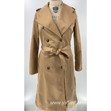 Women's Beige Double Breasted Coat