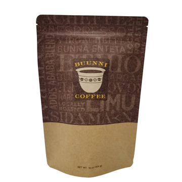 Standard stand up brown kraft paper coffee bag