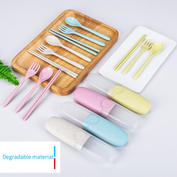 Portable Wheat Straw Biodegradable Cutlery Set With Case