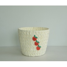 Round white paper rope handicraft basket