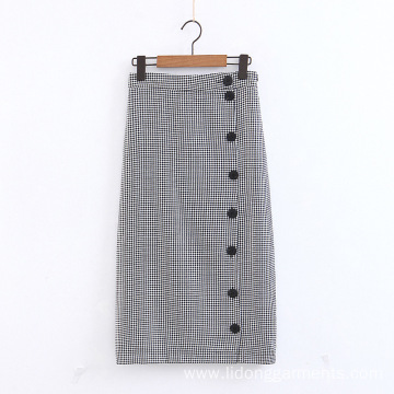 Plaid Decorative Medium-Length Skirt
