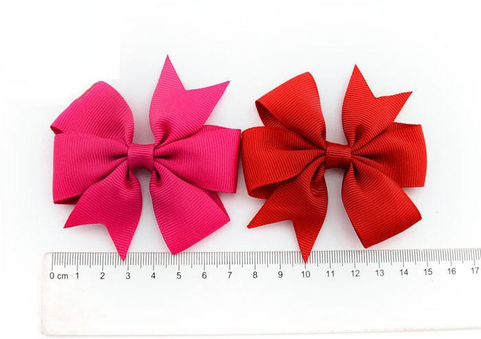 Plain ribbed ribbon fish-tail bow hair clip (1)1