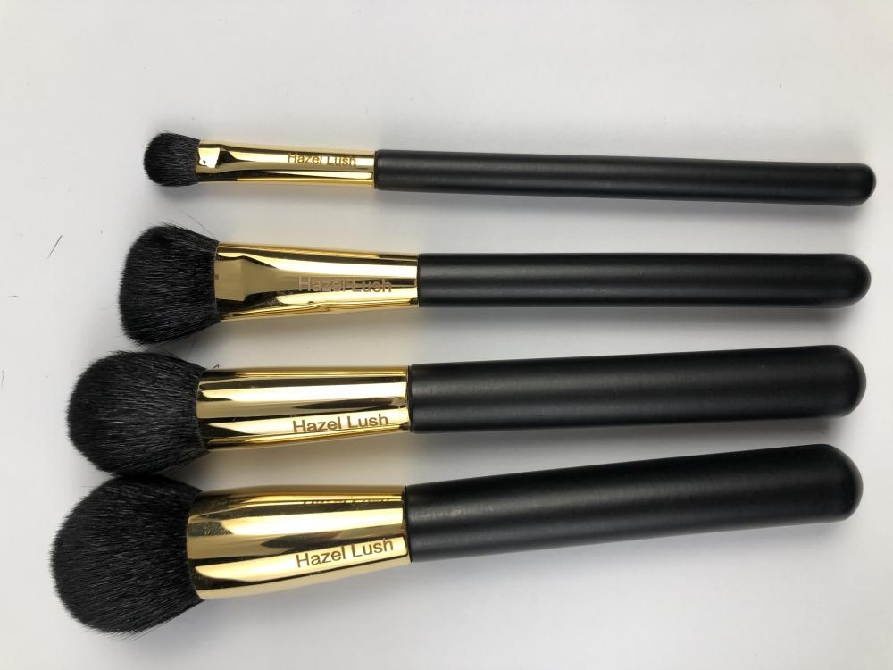 4 Pc Black Hair Hazel Lush Brush Set