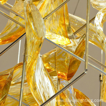 Unique design lobby crystal amber pendant lighting
