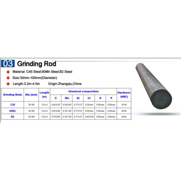 grinding rod with dia:100mm usd to rod mill
