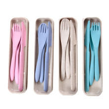 wheat straw spoon fork knife set plastic cutlery
