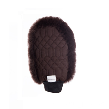 One sided brown sheepskin grooming mitt pro brown