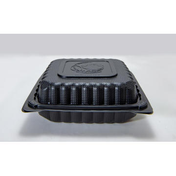 "9"" Disposable Plastic Black Take Away Packing Box"