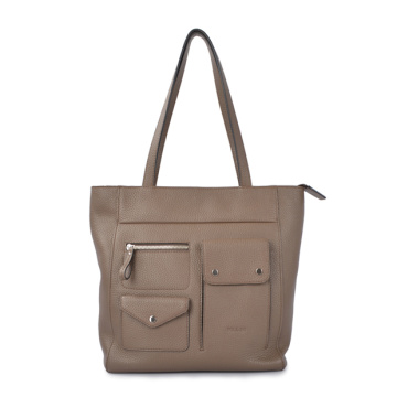 Leather Shoulder Bag with Pockets Everyday Market Bag