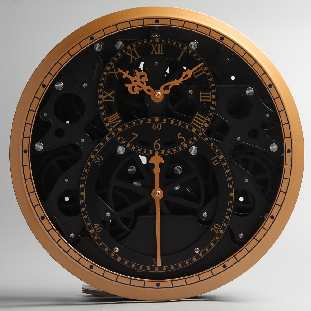 Round Gear Wall Clock With Black Accessories