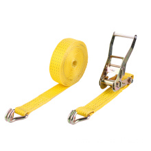 High Quality Yellow Ratchet Belt Tie Down Straps for Cargo Securing