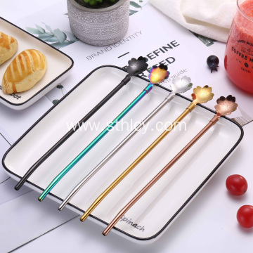 New Design Hot Sale Metal Straws Drinking Spoon