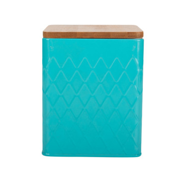 Blue kitchen tea sugar coffee canister bamboo lid