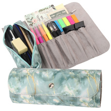 Pen Pencil Case, Roll Up Pencil and Makeup Pouch Bag Organizer with 1 Removable Pencil Pouch,5 Slots, 1 Zipper Pocket&Magnetic