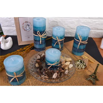 Single Color Layered Pillar Candles