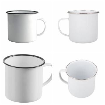 Traditional Enamel White Tea/Coffee Mugs