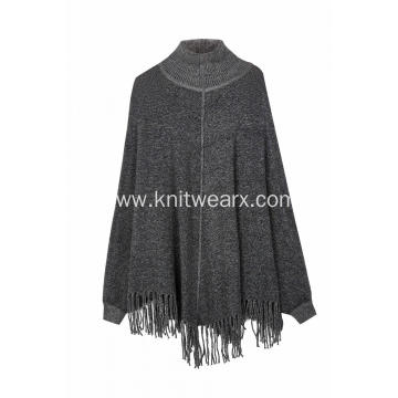 Women's Knitted Stretchable Turtleneck Tassels Poncho Caps