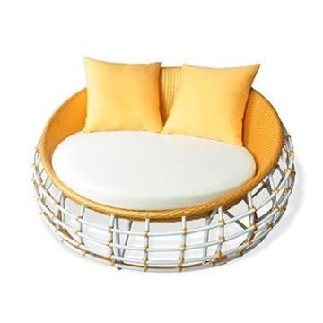 outdoor furniture round bed in garden